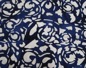 Patchwork Fabric Blue with cream print