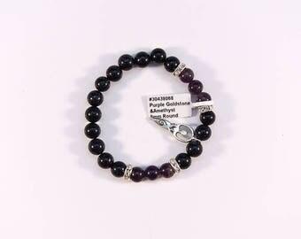 Striking Purple Goldstone and Amethyst Bracelet.