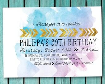 Birthday invitation, tribal birthday invitation, arrow, tribal, minimal, simple, clean, purple, pink, blue, watercolor, whimsical (Philippa)