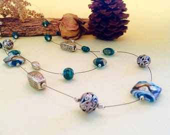 Double strands Long Necklace - Silver and blue tones glass beads - Handmade jewellery - Made in Australia
