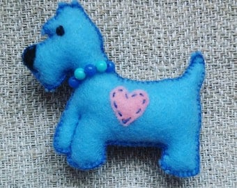 Dog Felt Brooch Scottie, Scottish Terrier brooch, dog owner gift, gift for her, Dog Pin, animal brooch, felt pin, funny gift, pet jewelry
