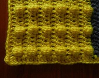 Crochet blanket, baby blanket, pram blanket, bassinet blanket, modern crochet, crochet bobble squares, newborn baby gift