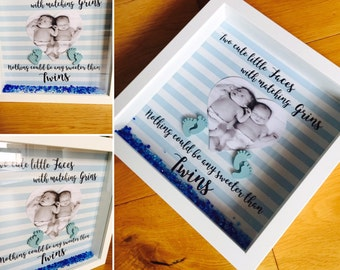 Twins frame, New Twins Gift , Twins Announcement, Two Little Faces, New Parents, Grandparents