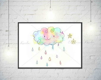Watercolor - Baby Cloud - Handmade - Digital - PRINTABLE