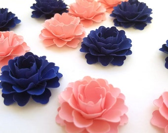 Loose Paper Flowers | Pink and Navy Paper Flowers (Set of 50)