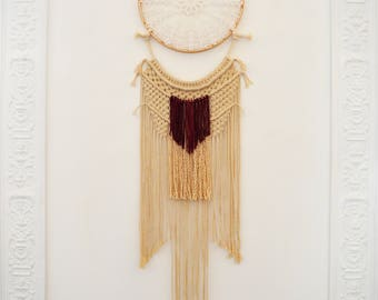 Bohemian chic beige and Burgundy dream catcher