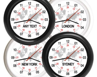 NEW 24hr Wall Clock World Time Zone London New York Sydney Any Location Any Text