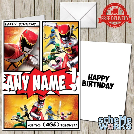 Power Rangers Personalised Greeting Birthday Card Dino Charge