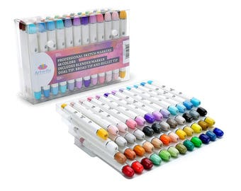 Bullet Nib 48 Sketch Markers For Drawing Professional Sketching Marker For Illustration Manga Coloring