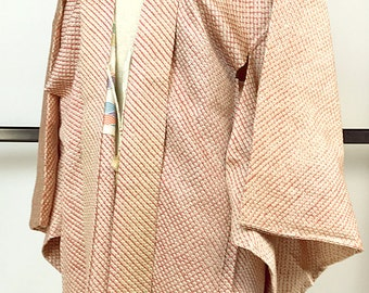 Japanese K037 Salmon Pink Soshibori Haori Kimono Jacket Vintage