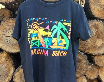 Vintage 1990s Virginia Beach Tee Neon Graphics Sz L USED