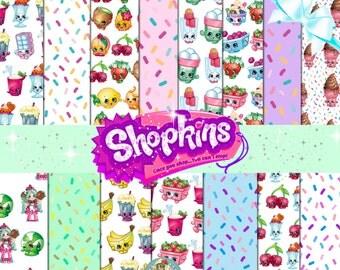 SHOPKINS DIGITAL PAPER, Shopkins Scrapbook Paper, Shopkins Clipart, Shopkins Clip Art, Shopkins Printables, Shopkins Print, Shopkins Digital