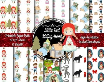 Little Red Riding Hood Scrapbook Paper, Little Red Riding Hood Printable Paper, Little Red Riding Hood Digital Paper, Instant Download