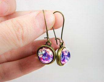 Galaxy earrings, Space earrings, Space jewelry, Galaxy jewelry, Universe earrings, Nebula jewelry, Pink brass earrings, Cosmic earrings