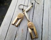 Gold art deco White Enamel charm earrings