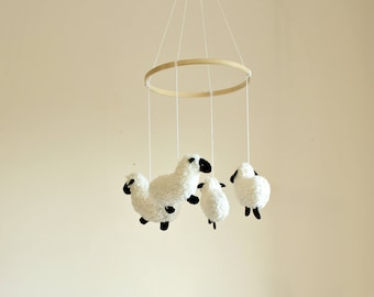 READY TO SHIP - Baby Mobile - Sheep Mobile - Lamb Baby Mobile - Pure Fleece - Nursery Decor