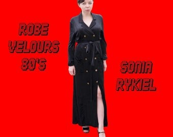 Sonia Rykiel dress long black velvet 1980's Vintage
