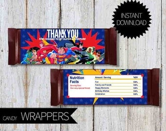SuperHero Justice League Birthday PartyPRINTABLE File of Candy Wrappers- Instant Download | DC SuperHero| Justice Unlimited| Chocolate