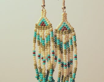 Blue-Green Chevron Earrings