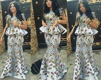 Ankara Peplum Skirt and Blouse