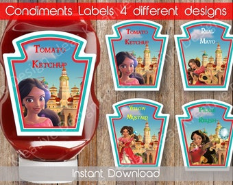 Elena of Avalor Condiments Labels Printable Elena Condiment Labels Instant Download Elena Condiment Labels Elena Birthday INSTANT DOWNLOAD