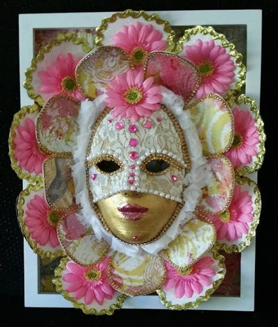 "Handmade, One of a Kind, Original, Paper Mache Mask, ""Pink Flower Girl"" made by Maskweaver, Soraya Ahmed"
