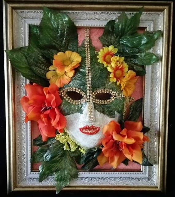 "Handmade, One of a Kind, Original, Paper Mache Mask, set into an 8 by 10 inch Frame,  ""Spring Flower Girl"" by Maskweaver, Soraya Ahmed"