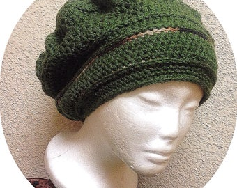 Made To Order Crochet Tam, Elastic Band Slouch Hat, Dreadlocks Beret