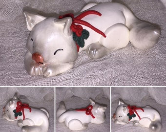 Holly Christmas cat kitten  // OOAK // handmade polymer clay // Christmas gift for him or her / ID# MCTLAN31