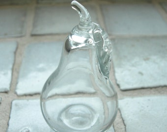 """Clear Glass Pear Figurine, Ornament, Decoration or Paperweight – 5"""" tall"""