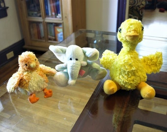 Three Small Stuffed Animals – Duck, Chick, and Elephant