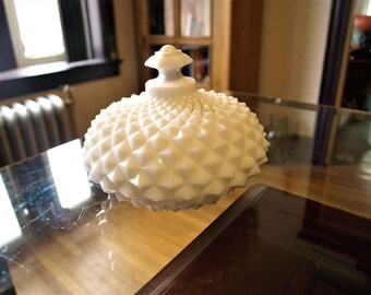 Antique / Vintage Westmoreland Milk Glass Saw-Tooth / English Hobnail Ellipse Covered Candy Dish with Finial