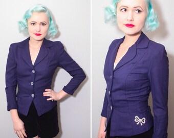 1940s Navy Blue Jacket With White Bow Details   Ladies Blazer   Size XS