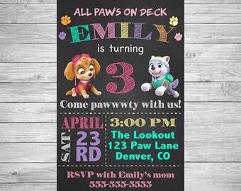 Paw Patrol Girl Birthday Invitation