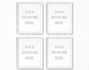 8x10 DIGITAL Set of 4 White Frame Mockup (Portrait) - Stock Photo, Styled Photography, Mock up, prints, illustration, INSTANT DOWNLOAD