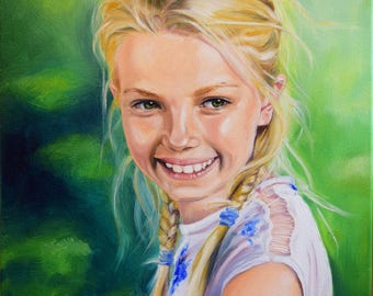 "Custom Oil Portrait, Original Oil Painting, size  20""x 16"" (50cm x 40cm)"
