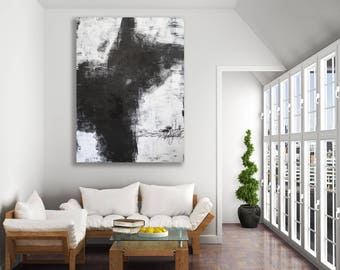 XL Textured Black and White Modern Art / Abstract Art / Black and White Abstract Art / Contemporary Art / Large Black and White Painting