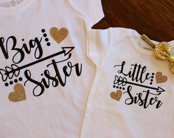 Big sister Shirt, Little Sister One Piece, Big Sister, Little Sister Shirt Set, big sister shirt, little sister shirt, Sister Shirts