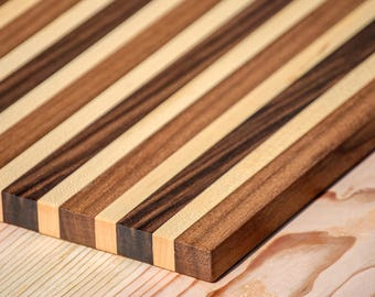 Serving Board - Maple with Multi-Colored Walnut Stripes