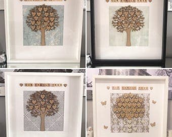 EXTRA LARGE FAMILY tree scrabble frame personalised handmade shabby shic home interior decor gift present