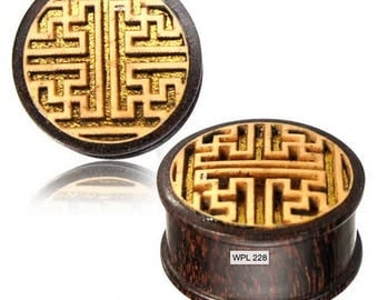 Sayagata Swastika Tamarind wood plug with jack fruit inlay Tunnel spreader