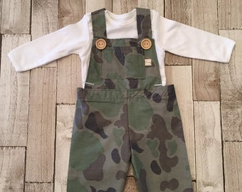 homemade boys camouflage dungarees and white vest set.