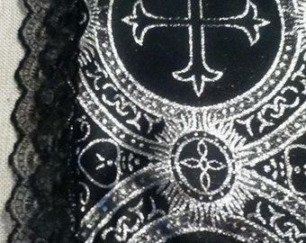 Black and Metallic Silver W  Black Lace Trim