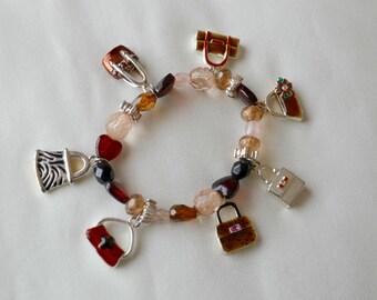 Stretch Beaded Bracelet with Handbag Charms