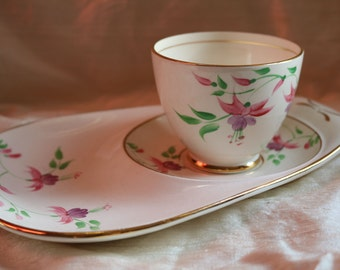 Rare Thomas Forester Tennis Cup & Saucer Hand Painted Flowers 1940s