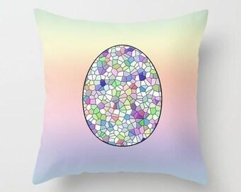 Egg Pillowcase, Pillow Cover, Nursery Decor, Mosaic Pillow, Egg Decor, Pastel Pillow, Accent Pillow, Throw Cushion, Home Decor, Spring Decor