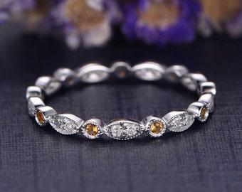 Yellow Citrine engagement ring with diamond,14K White Gold Wedding Band full Eternity Ring,stacking matching band,custom made fine jewelry