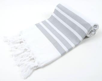SALE50%OFF! TURKISH TOWEL Light Gray Striped - Light Gray Striped Peshtemal - Turkish Cotton - Beach Towel, Spa, Hammam, Sauna, Yoga Towel