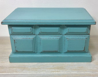 Hand Painted Shabby Chic Aqua Teal Trinket Box, Gift for her