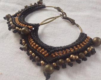 Creole macrame / creole ethnic /Boucle d ear macrame/Creole / earrings ethnic ear / ear ring